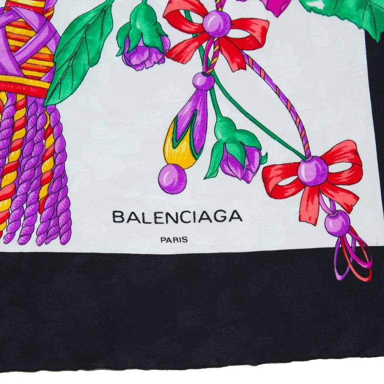 Gray 1980's Balenciaga Silk Jacquard Scarf For Sale