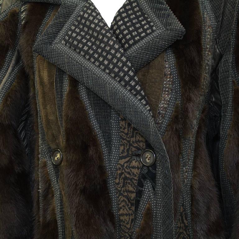 1990's Koos Van Den Akker Couture Mink and Patchwork Coat In Excellent Condition For Sale In Toronto, CA