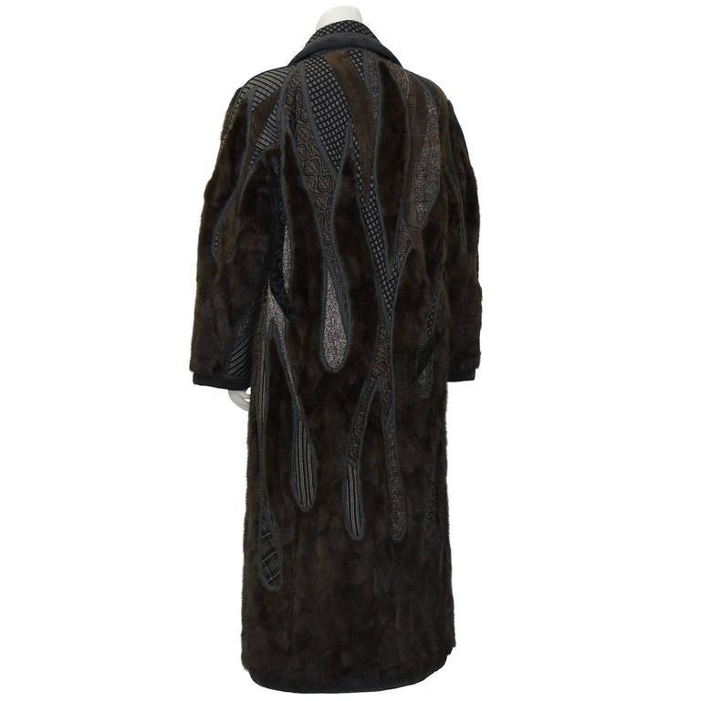 Black 1990's Koos Van Den Akker Couture Mink and Patchwork Coat For Sale