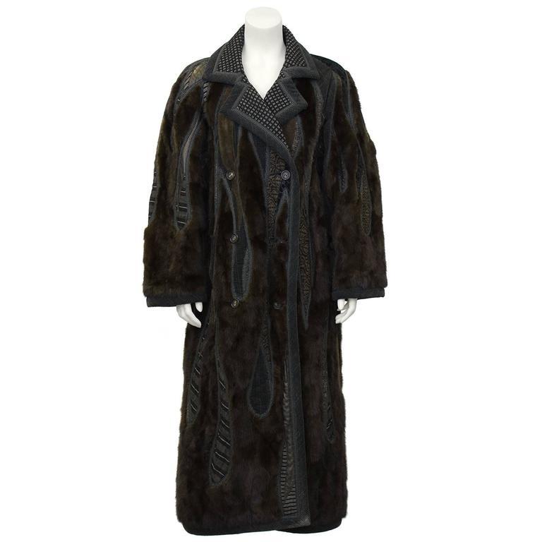 1990's Koos Van Den Akker Couture Mink and Patchwork Coat For Sale