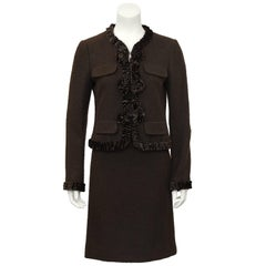1990's Moschino Brown Wool and Velvet Skirt Suit
