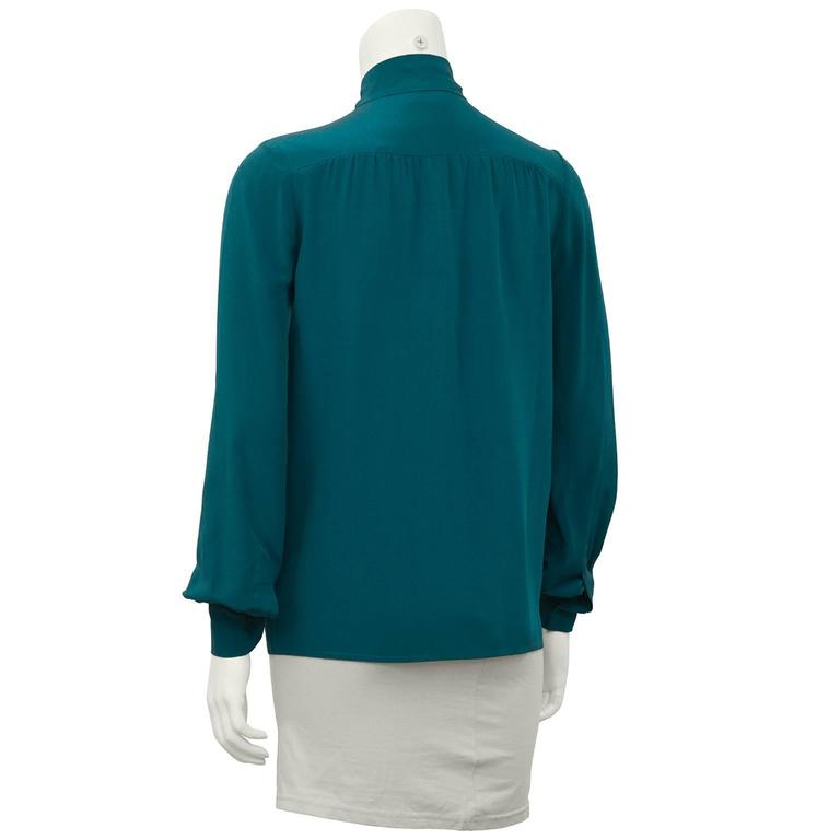 Blue Chanel 1980's Turquoise Silk Pussy Bow Shirt For Sale