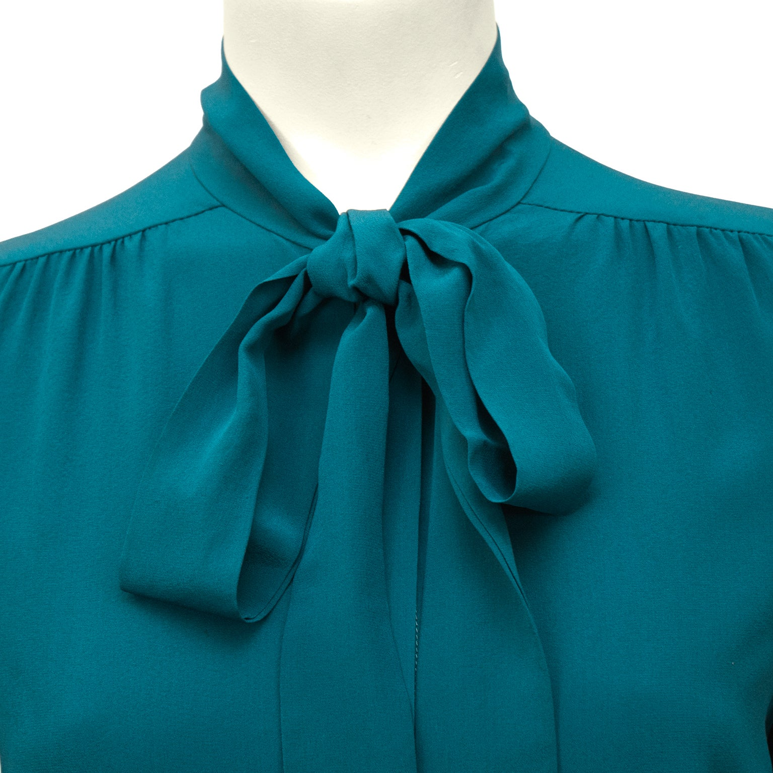 29440b2d8bc522 Chanel 1980 s Turquoise Silk Pussy Bow Shirt For Sale at 1stdibs