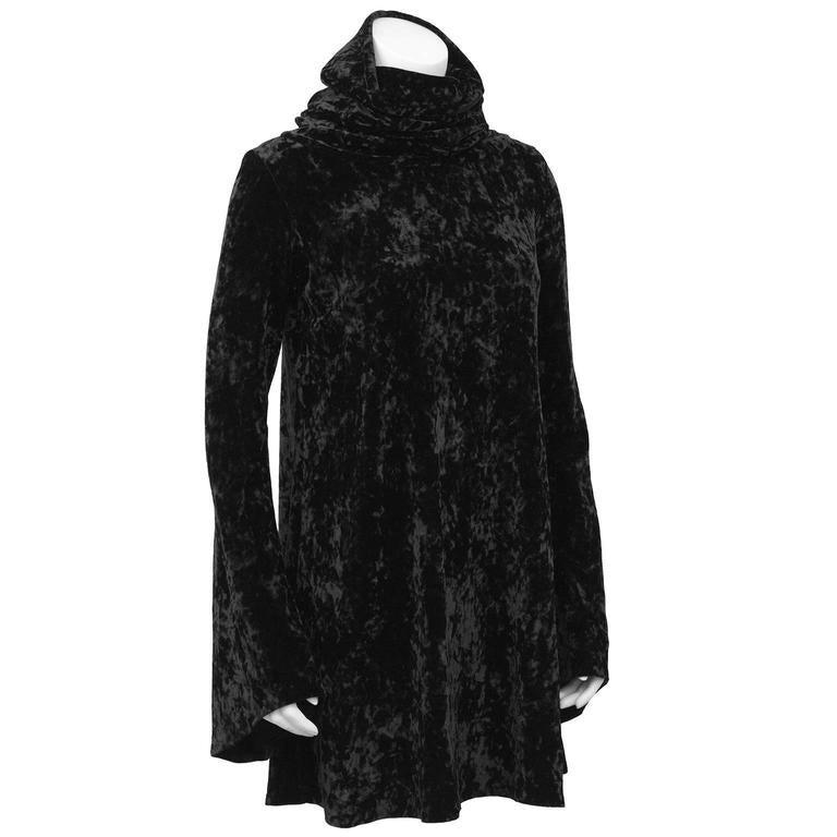 1990's Black Panne Velvet Norma Kamali Bell Sleeve Mini