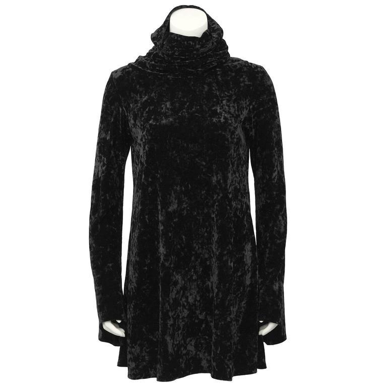 1990's Black Panne Velvet Norma Kamali Bell Sleeve Mini 2