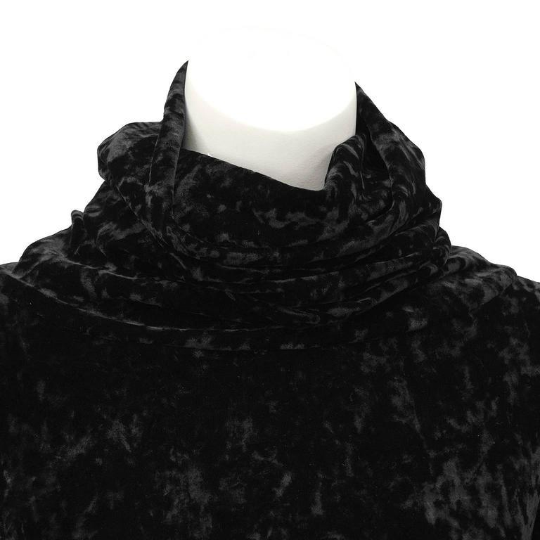 1990's Black Panne Velvet Norma Kamali Bell Sleeve Mini 5
