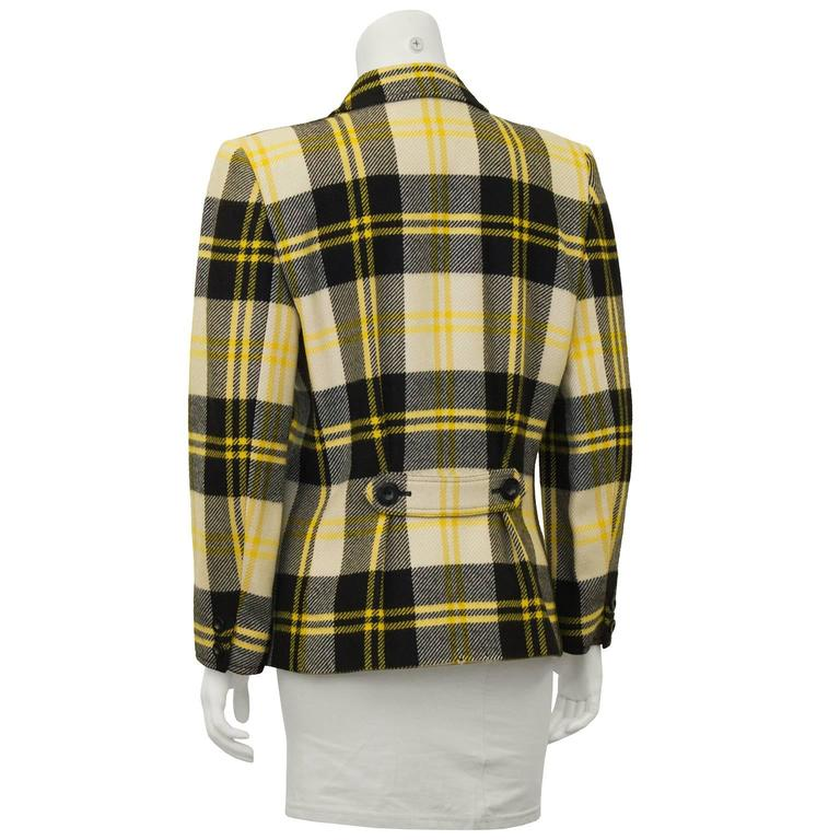 1990's Valentino Yellow Black and White Plaid Wool Blazer In Excellent Condition For Sale In Toronto, Ontario