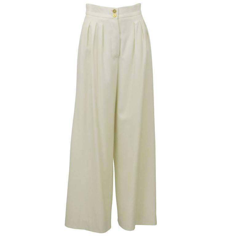 1990s Chanel Cream Wool Wide Leg Trousers  For Sale