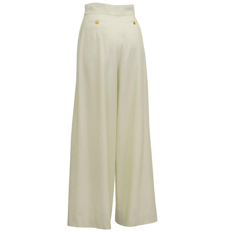 Beige 1990s Chanel Cream Wool Wide Leg Trousers  For Sale