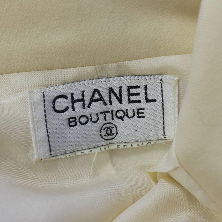 Women's 1990s Chanel Cream Wool Wide Leg Trousers  For Sale