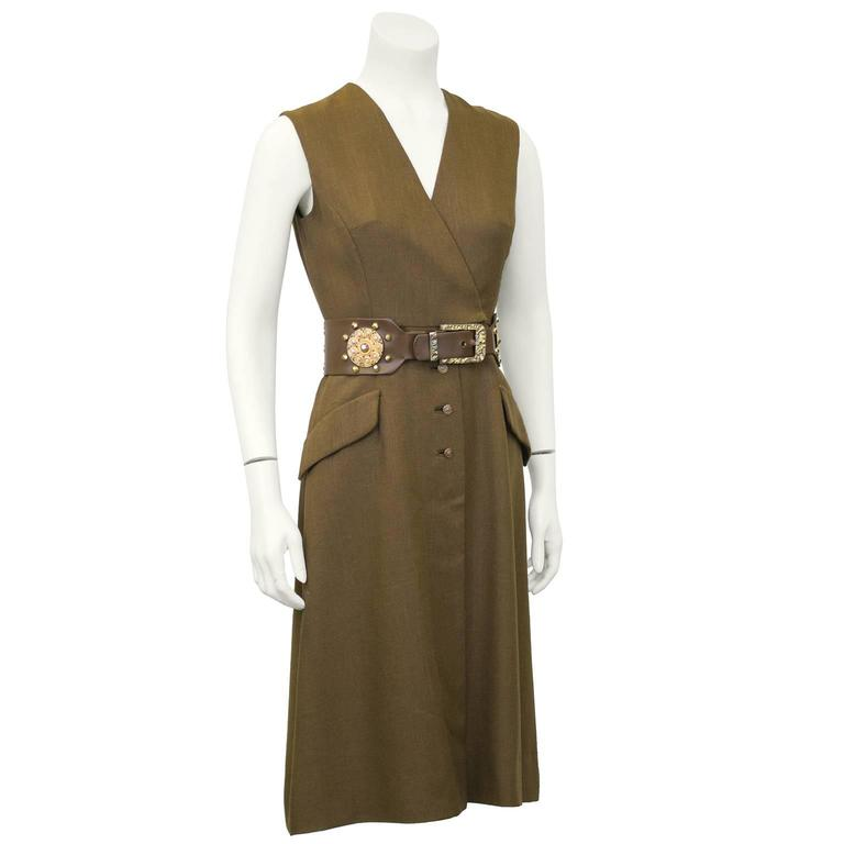 1960s Brown Shannon Rodgers Day Dress with Embellished Belt  2