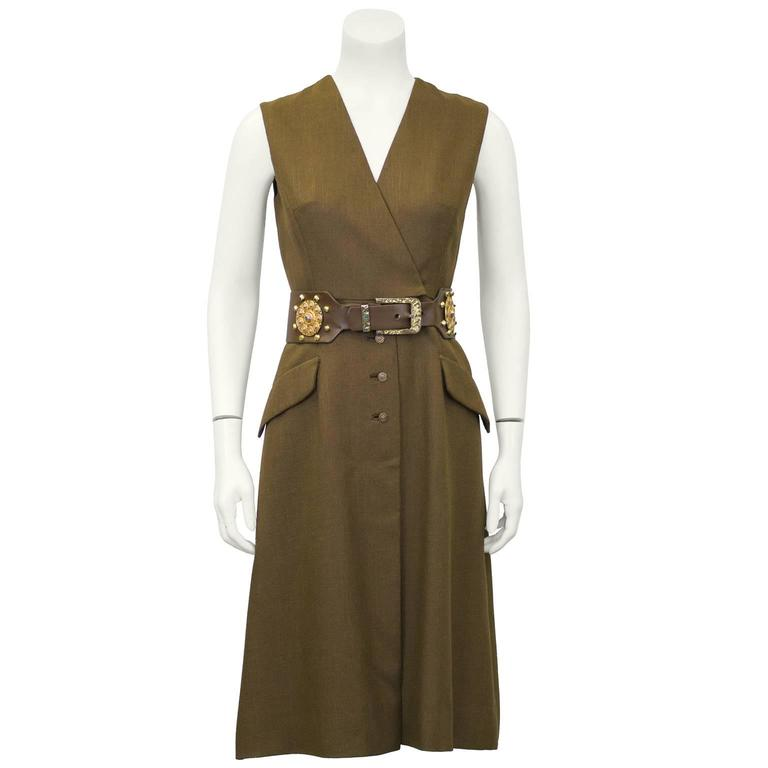 1960s Brown Shannon Rodgers Day Dress with Embellished Belt  1