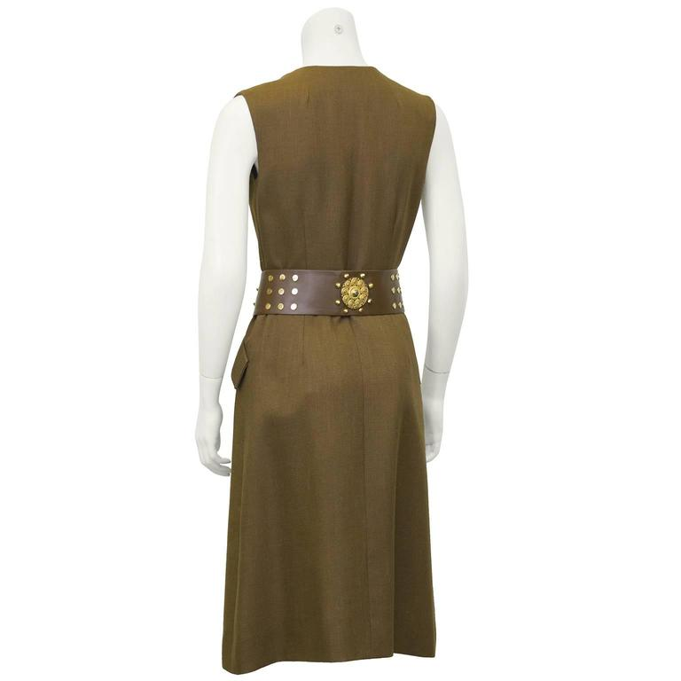 1960s Brown Shannon Rodgers Day Dress with Embellished Belt  3