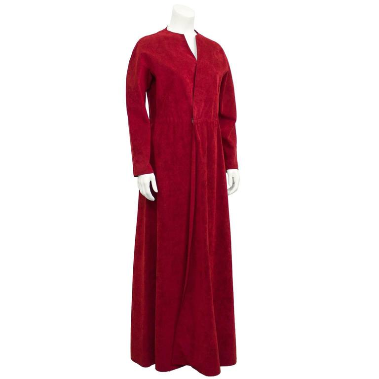 1970's Halston Red Ultra Suede Gown  2