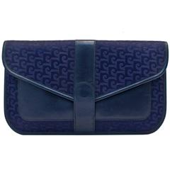 1960s Pierre Cardin Navy Logo Jacquard and Leather Clutch