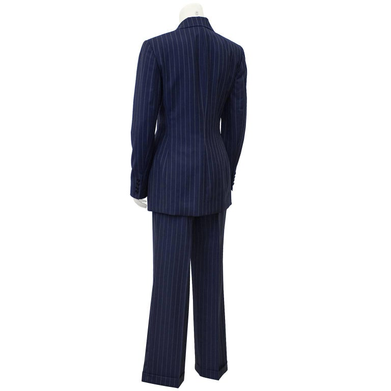 Black 1990's Ralph Lauren Navy Pin Stripe Double Breasted Suit  For Sale