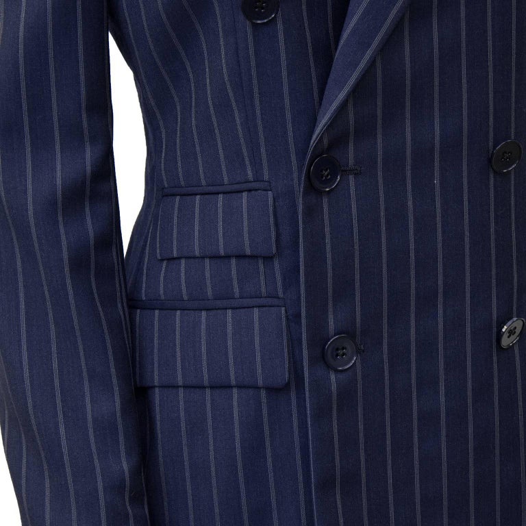 Women's or Men's 1990's Ralph Lauren Navy Pin Stripe Double Breasted Suit  For Sale