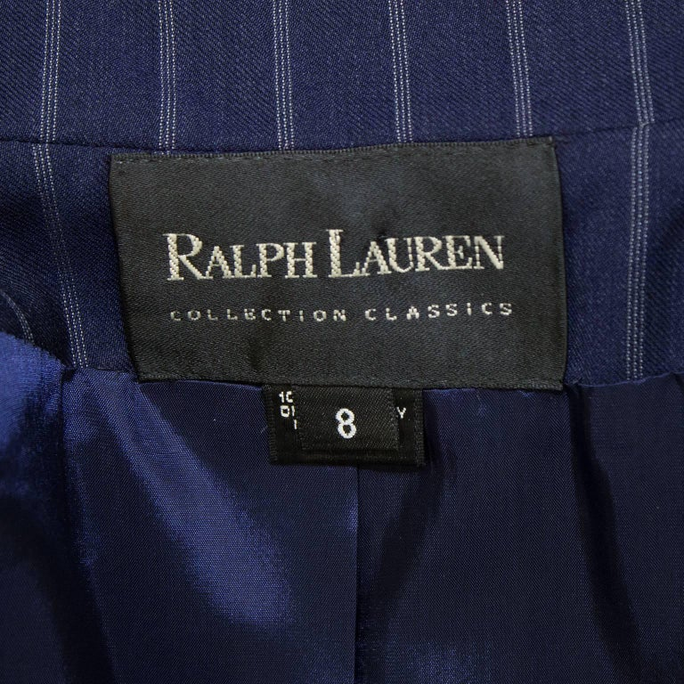 1990's Ralph Lauren Navy Pin Stripe Double Breasted Suit  For Sale 1