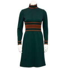 1960's Pierre Cardin Green Knit Dress with Orange Details