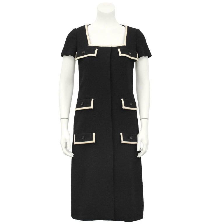 1960's Galanos Black Dress with Pocket Details