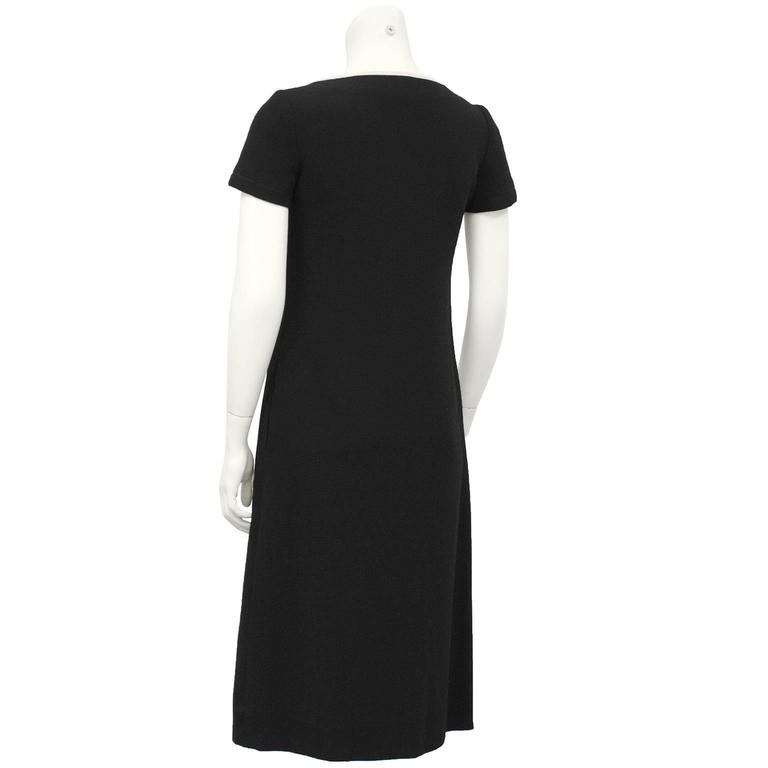 1960's Galanos Black Dress with Pocket Details In Excellent Condition For Sale In Toronto, Ontario