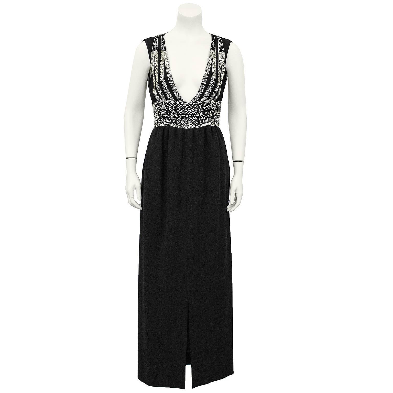 1970's Pauline Trigere Black Wool Gown