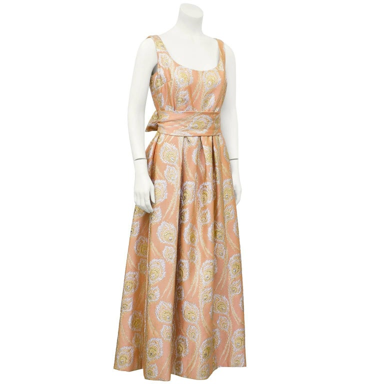 1960 S Ceil Chapman Peach And Metallic Brocade Gown For