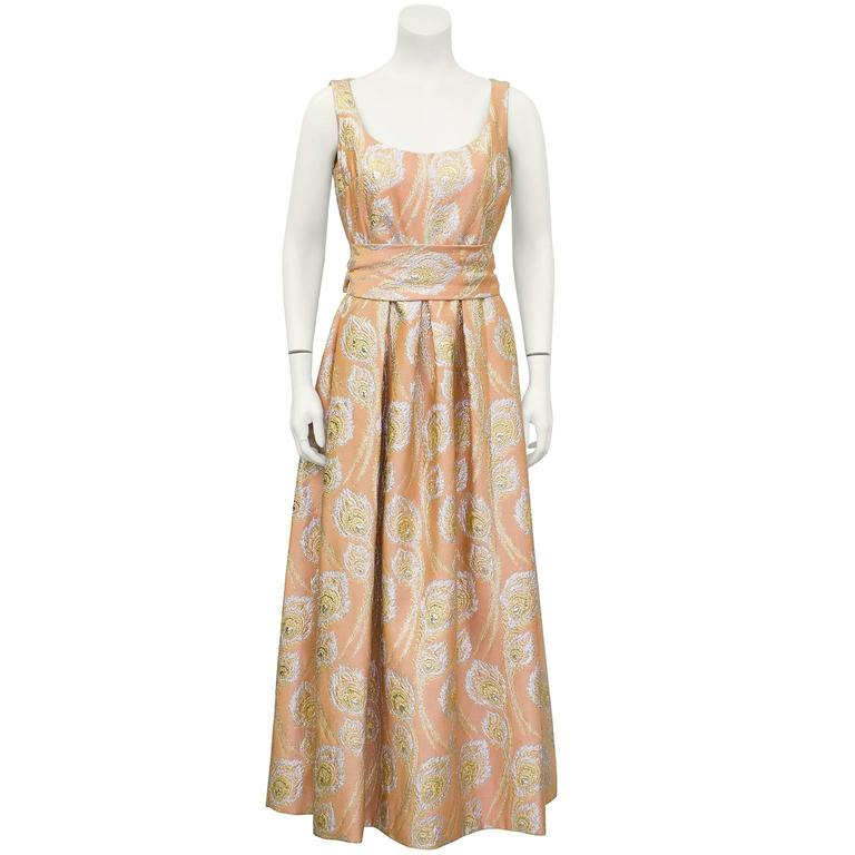 04c1c8ee31c6 1960's Ceil Chapman Peach and Metallic Brocade Gown For Sale at 1stdibs