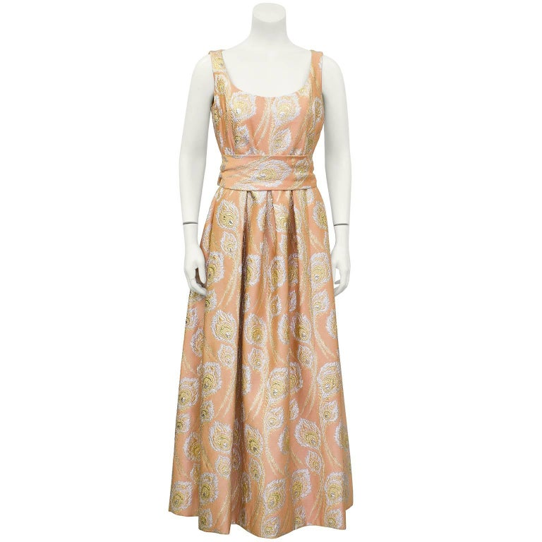 1960's Ceil Chapman Peach and Metallic Brocade Gown