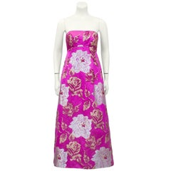 1960's Malcolm Starr Magenta and Metallic Floral Brocade Tea Gown