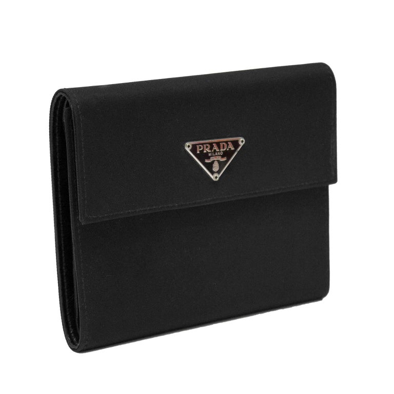 1990's Prada Black Nylon Rectangle Wallet