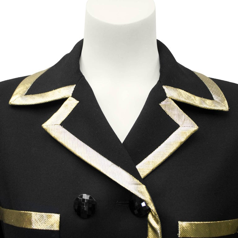 Women's 1980's Valentino Black Jacket with Gold Lurex Trim' For Sale