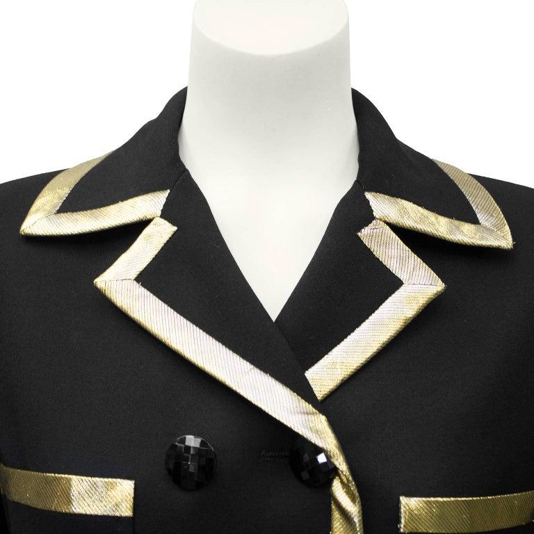 1980's Valentino Black Jacket with Gold Lurex Trim' 4
