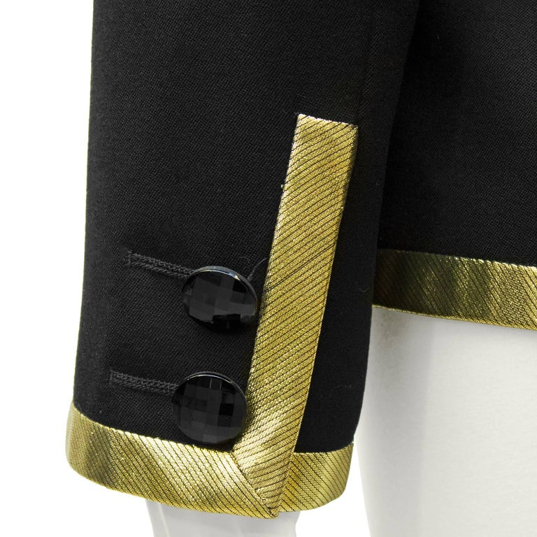 1980's Valentino Black Jacket with Gold Lurex Trim' For Sale 1