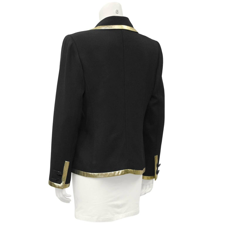 1980's Valentino Black Jacket with Gold Lurex Trim' In Excellent Condition For Sale In Toronto, Ontario