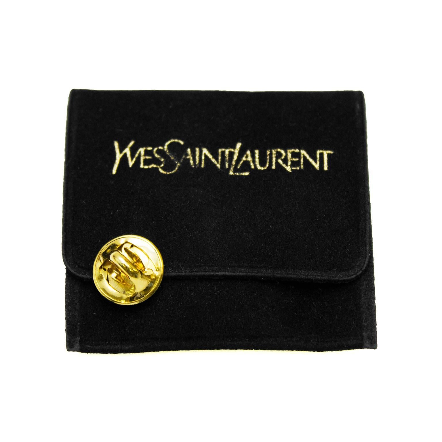 5e42a4784adeb Yves Saint Laurent YSL Gold Tone Logo Pin For Sale at 1stdibs
