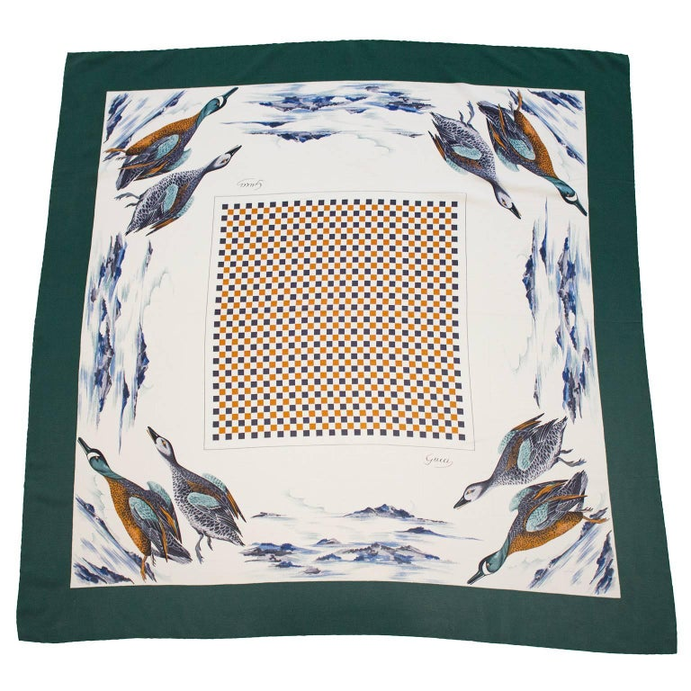 1970's Gucci Duck Print Silk Scarf  For Sale