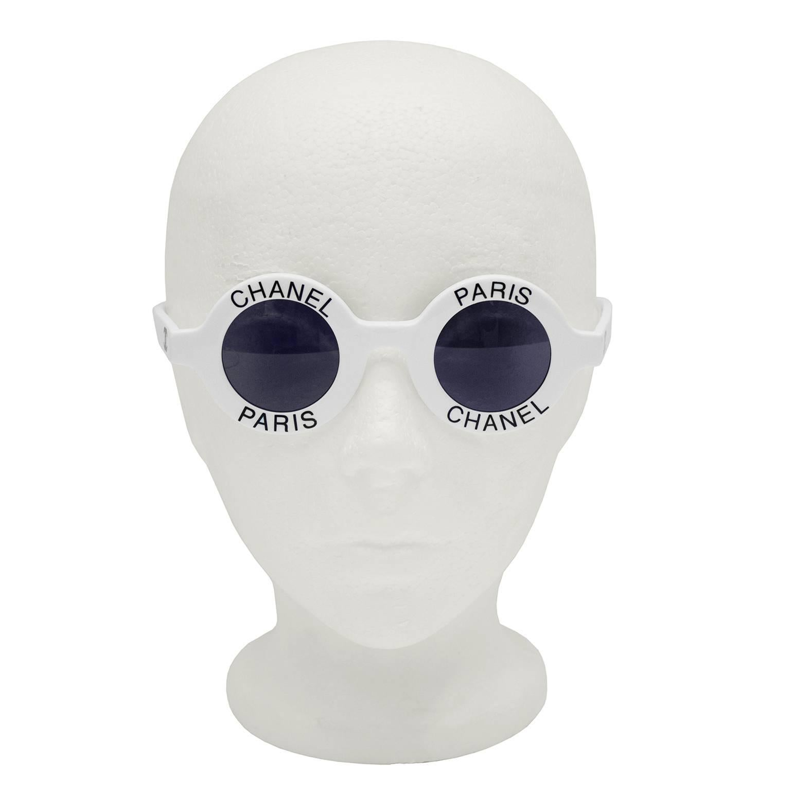 8bd61dc6f26d 1990's Iconic White Chanel Paris Round Sunglasses For Sale at 1stdibs