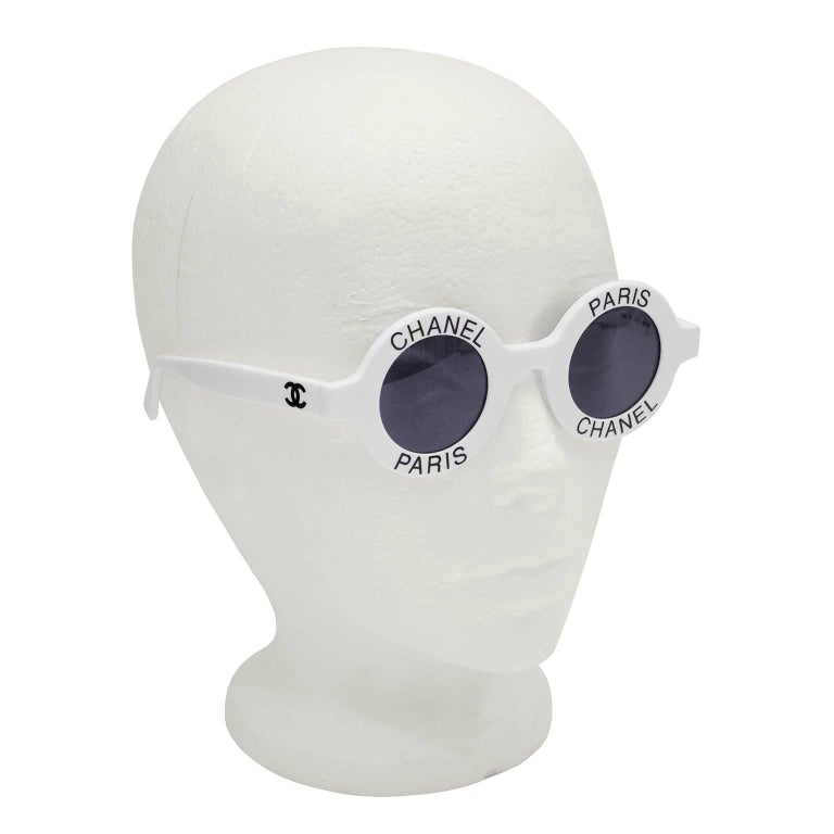 1990's Iconic White Chanel Paris Round Sunglasses