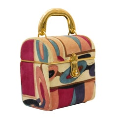 1970's Emilio Pucci Pink and Purple Velvet Box Bag with Goldtone Handle