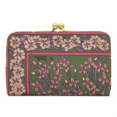 1970's Emilio Pucci Green and Purple Silk Floral Clutch