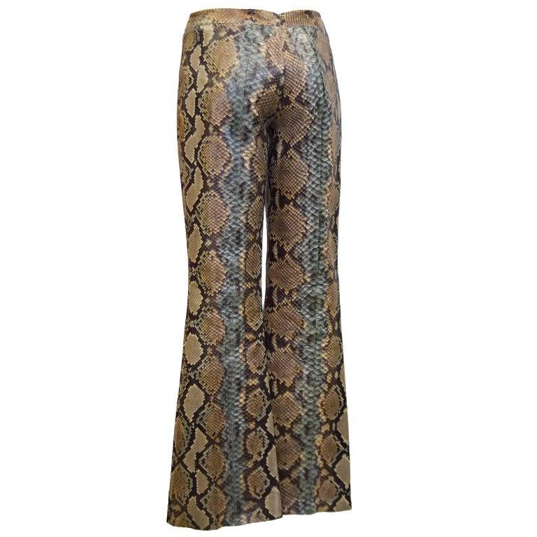 Brown 1990's Tom Ford Era Gucci Genuine Skin Pants For Sale