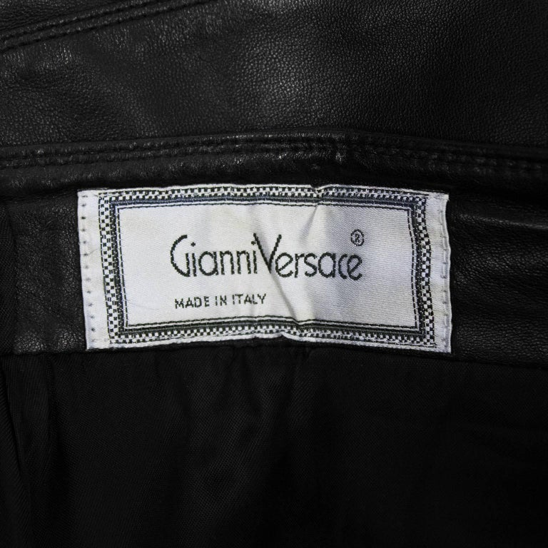 1980's Gianni Versace Black Leather Skirt with Tiered Hem Detail For Sale 1