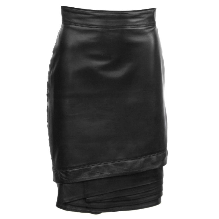 1980's Gianni Versace Black Leather Skirt with Tiered Hem Detail For Sale