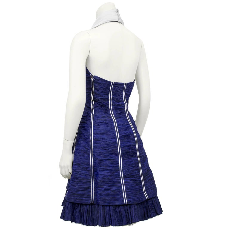 Jacques Fath Navy Blue Micro Pleated Cocktail Dress, 1980s   In Excellent Condition For Sale In Toronto, Ontario