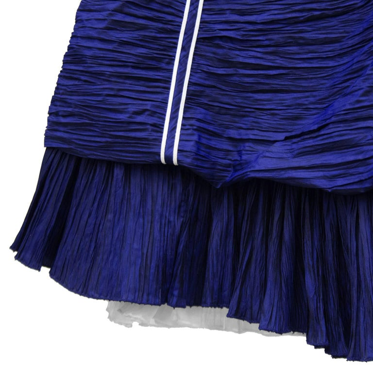 Jacques Fath Navy Blue Micro Pleated Cocktail Dress, 1980s   For Sale 1