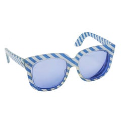 1970s Emmanuelle Khanh Blue Striped Sunglasses