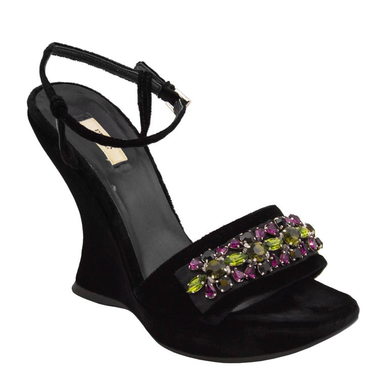 124e4f72b 2004 Prada Fall Ready-to-Wear Black Velvet and Swarovski Crystal Wedges For  Sale