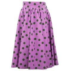 1986 YSL Yves Saint Laurent Purple Polka Dot Midi Skirt