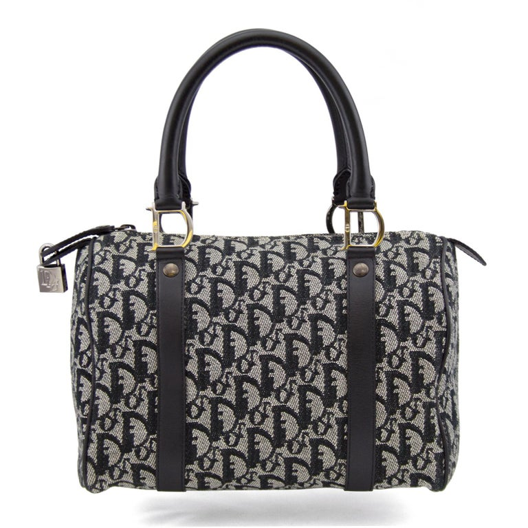 Early 2000s Dior Black And White Cotton Logo Boston Bag With Gunmetal Hardware The Exterior